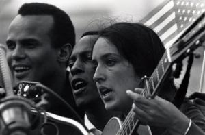 Belafonte, Leon Bibb, and Joan Baez sing on the capital steps in  Montgomery (photo by Matt Herron)