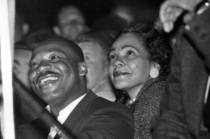 King and wife Coretta enjoy the songs! (photo by Spider Martin)